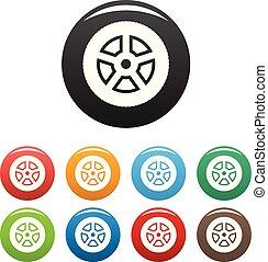 Wheel icons set color vector