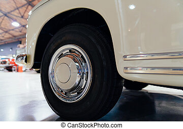 Wheel in white vintage classic car auto