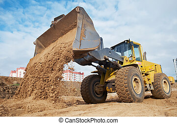 wheel loader at eathmoving works - Wheel loader machine...