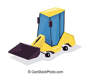 Wheel Loader. Cartoon funny and comic style.