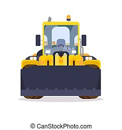 Wheel loader front view flat style