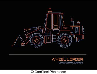 Wheel Loader neon outline - Neon colors on a black...