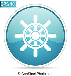 wheel nautical navigation travel button blue glossy round vector icon on white background