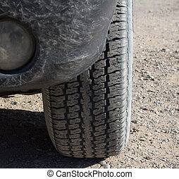 wheel of a car with a protector