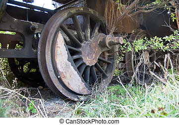 Wheel of an old steam locomotive
