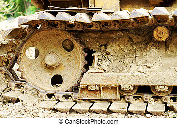 wheel of bulldozer