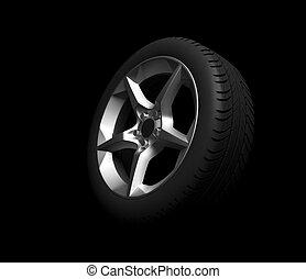 wheel of car on black background
