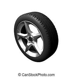 wheel of car on white background