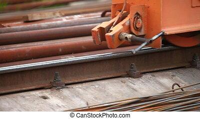 Wheel of crane moving on rails