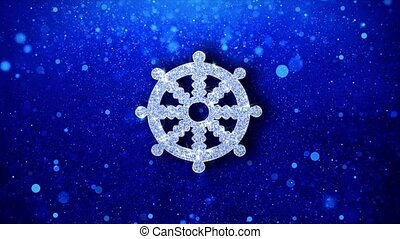 Wheel of Dharma Buddhism religion Icon Blinking Glitter...