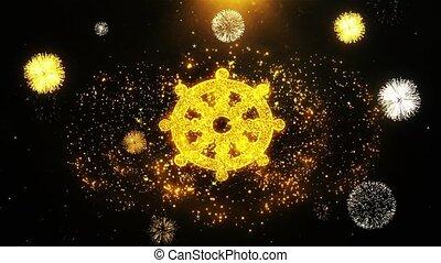 Wheel of Dharma Buddhism religion Icon on Firework Display...