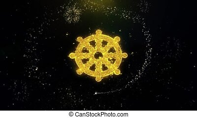 Wheel of Dharma Buddhism religion Icon on Gold Particles...