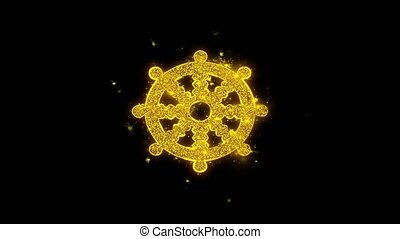 Wheel of Dharma Buddhism religion Icon Sparks Particles on...