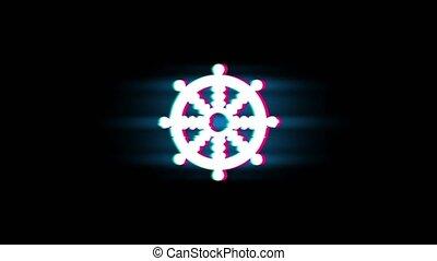 Wheel of Dharma Buddhism religion Symbol on Glitch Led Screen Retro Vintage Display Animation 4K Animation Seamless Loop Alpha Channel.
