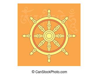 Wheel of dharma, one of eight auspicious buddhist religious symbols, vector illustration