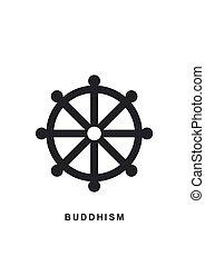 Wheel of Dharma, Dharmachakra - a symbol Buddhism and...