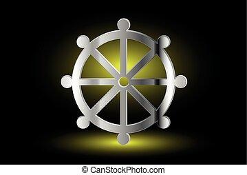 Wheel of Dharma, symbol of Buddhism ,