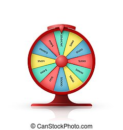 Wheel of fortune. 3d object isolated on white background. Vector illustration