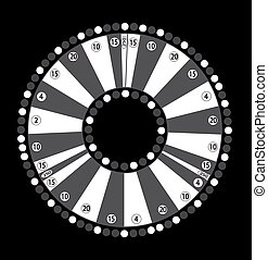 Wheel of Fortune, Game Jackpot on Black Background. Vector Illustration.