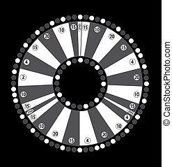 Wheel of Fortune, Game Jackpot on Black Background. Vector Illustration.
