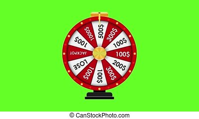 Wheel of Fortune, Lucky background. Footage green.