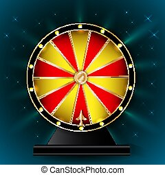 Wheel of fortune on blue background. Vector illustration