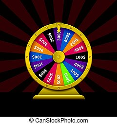 Wheel of fortune. Colorful wheel of luck with golden frame...