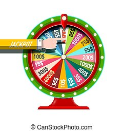 Wheel of Fortune Vector Icon with Jackpot Hand