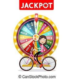 Wheel of Fortune with Jackpot Title and Happy Woman Waving on Bicycle Isolatd on White Background