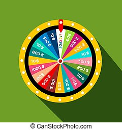 Wheel of Fortune with Jackpot Vector Flat Design Symbol on Green Background