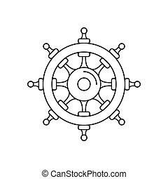 Wheel of ship icon, outline style