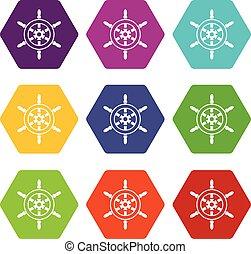 Wheel of ship icon set color hexahedron
