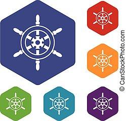 Wheel of ship icons set