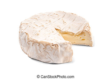 Wheel of soft cheese over white background