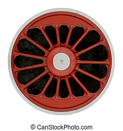 Wheel of steam locomotive isolatde on white background