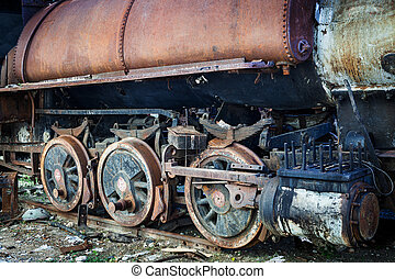 wheel of steam locomotive