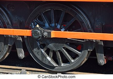 Wheel of steam train