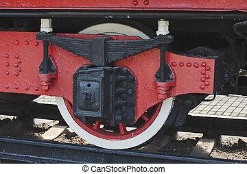 Wheel of the old steam locomotive