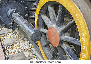 Wheel old steam locomotive