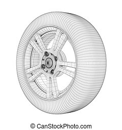 Wheel on a white wire model