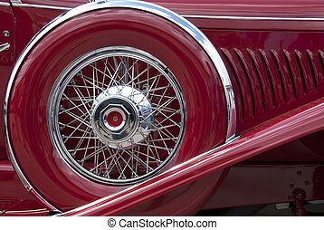 Spare fender wheel on classic car from the 1930ies