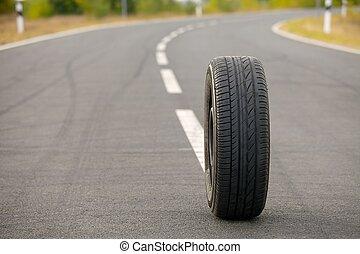 Wheel on road