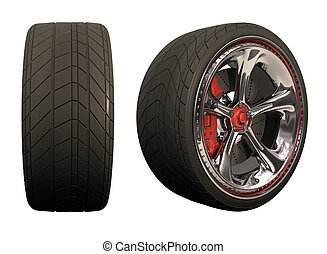 Wheel overwhite - Chromed wheel with red details. Exclusive...