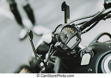 wheel., pretas, motocicleta, frente, vista., velocidade, guiando