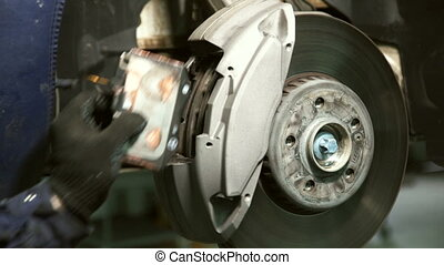 wheel., remplacer, main, coussins, gants, frein, marques
