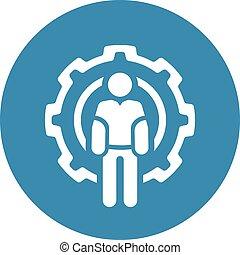 wheel., símbolo., engenharia, dente, técnico, icon., homem