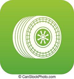 Wheel sport car icon green vector