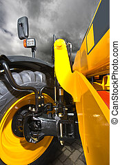 Wheel suspension - Close up of the rigid construction of the...
