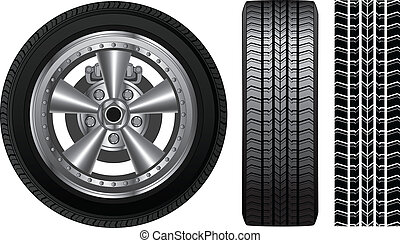 Wheel - Tire and Alloy Rim - Illustration of a wheel with...