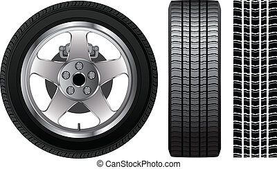 Wheel - Tire and Aluminum Rim - Illustration of a wheel with...